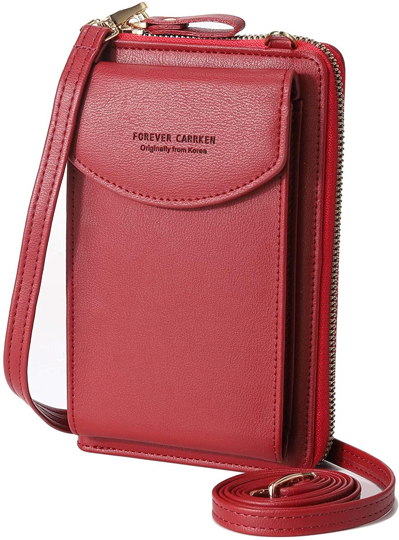 Silkarea PU Leather Crossbody Phone Purse Tassel Cell Phone Bag Small Shoulder Purse RFID Card Wallet Purse (Wine Red)