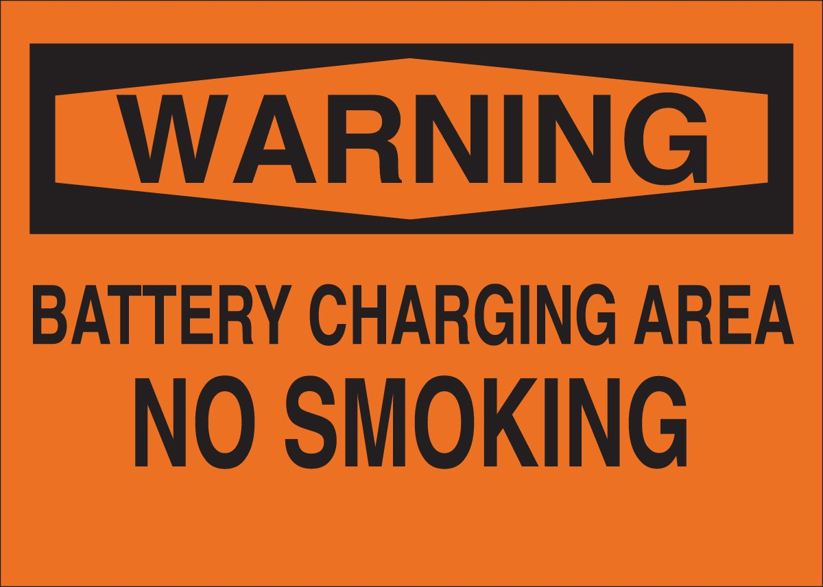 Brady 42676 Aluminum No Smoking Sign, 10 X 14, Legend Battery Charging Area No Smoking