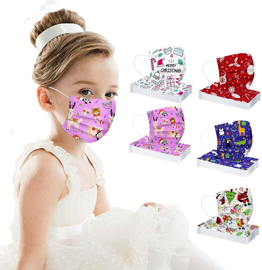 50Pcs Children's Christmas Disposable_Face_Masks, 3-Layer Breathable Face Protection Bandanas with Elastic Earloop for Kids, 5 Christmas Patterns (50PC, KD#02)