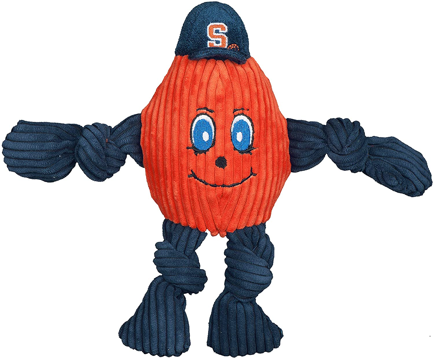 HuggleHounds Officially Licensed College Mascot Plush Corduroy Durable Squeaky Knottie, Great Dog Toys for Aggressive Chewers