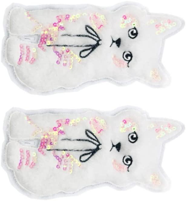 Milisten 2pcs Appliques Patches Sequins Patches Decorative Cats Felt Patches for Jackets Jeans Bags Clothing Arts Crafts White Size L