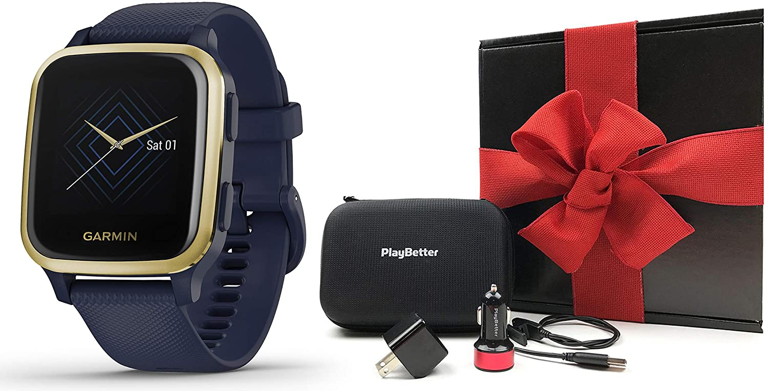 Garmin Venu Sq Music (Navy/Light Gold) Gift Box Bundle | 2020 Model | +PlayBetter USB Car/Wall Adapters & Protective Hard Case | Bright Square Screen & Wrist-Based HR | Fitness GPS Smartwatch