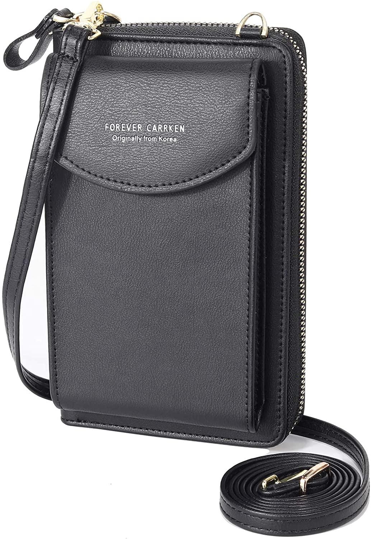 Silkarea PU Leather Crossbody Phone Purse Tassel Cell Phone Bag Small Shoulder Purse RFID Card Wallet Purse (Black)