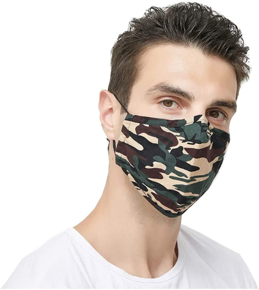 OMGYST 1Pack Camouflage Cotton Reusable_Face_Mask_Cloth Printed Design Protection, Washable, Reusable Cotton Fabric With 2 filters