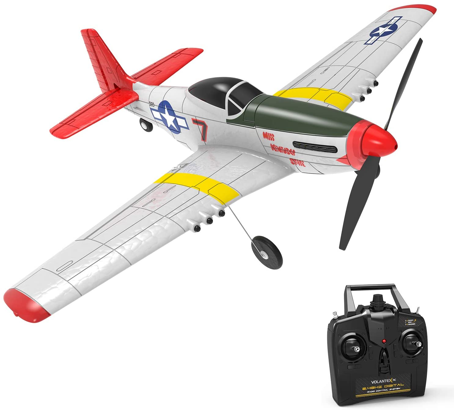 QueenHobby P51D RC Airplane 4-CH Remote Control Beginner Airplane with 6-axis Stabilizer System One Key Aerobatic and One-Key U-Turn