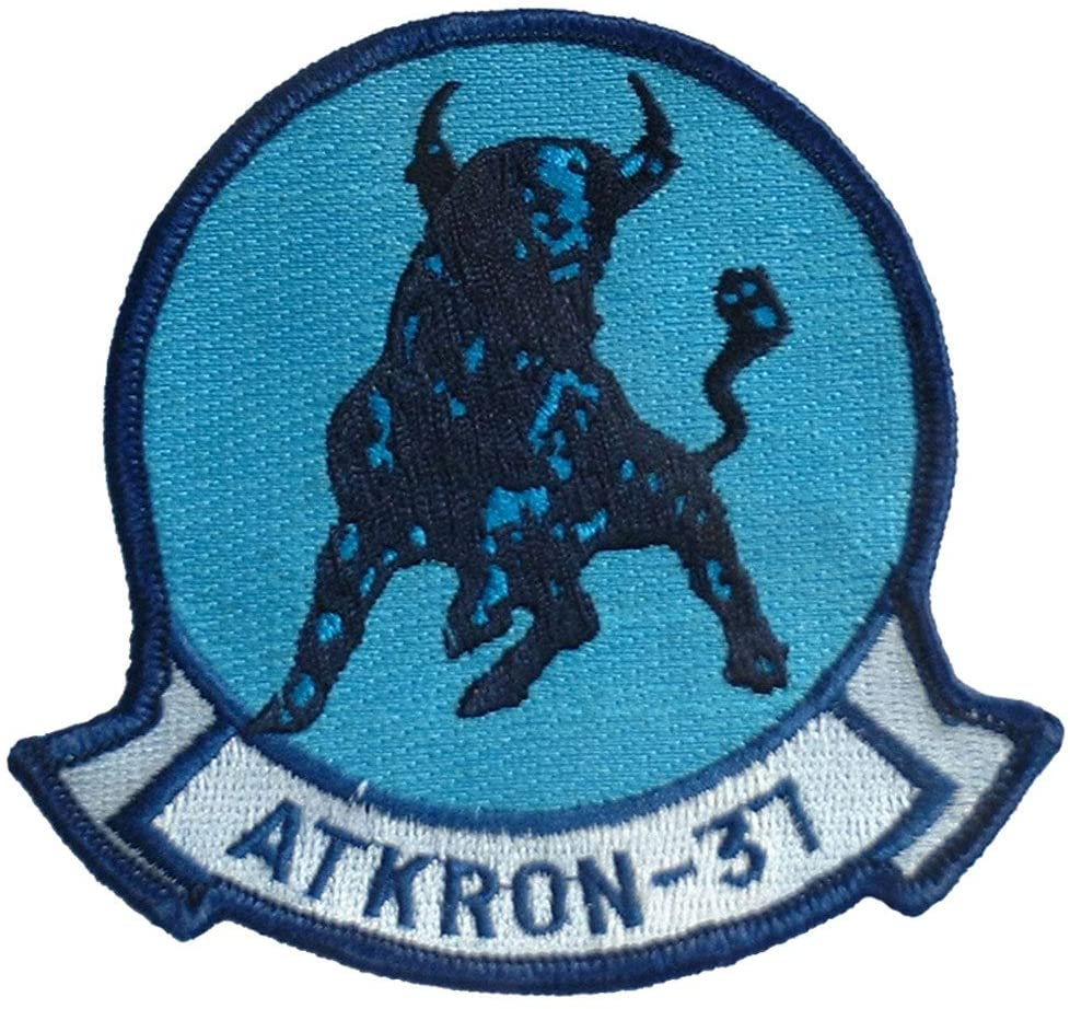 United States Navy USN VA-37 Atkron Bulls Fighter Attack Squadron Embroidered Patch, with Iron-On Adhesive