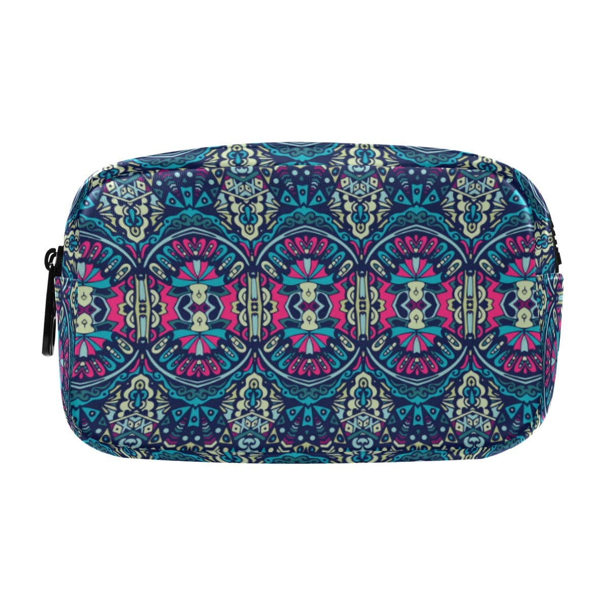 ALAZA Abstract Geometric Bohemian Ethnic Pattern Cosmetic Bag Leather Pencil Case Waterproof Portable Travel Makeup Pouch with Zipper for Women Girls Teens