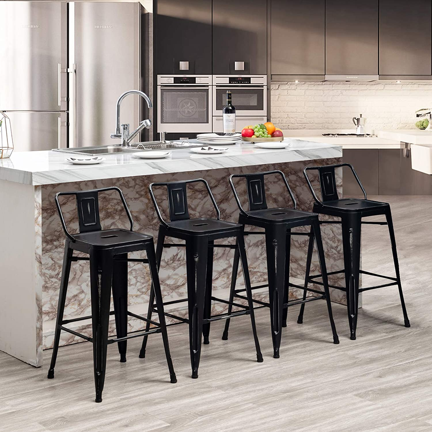 Awonde Metal Barstools with Backs Industrial Distressed Counter Height Bar Stools Set of 4 (26