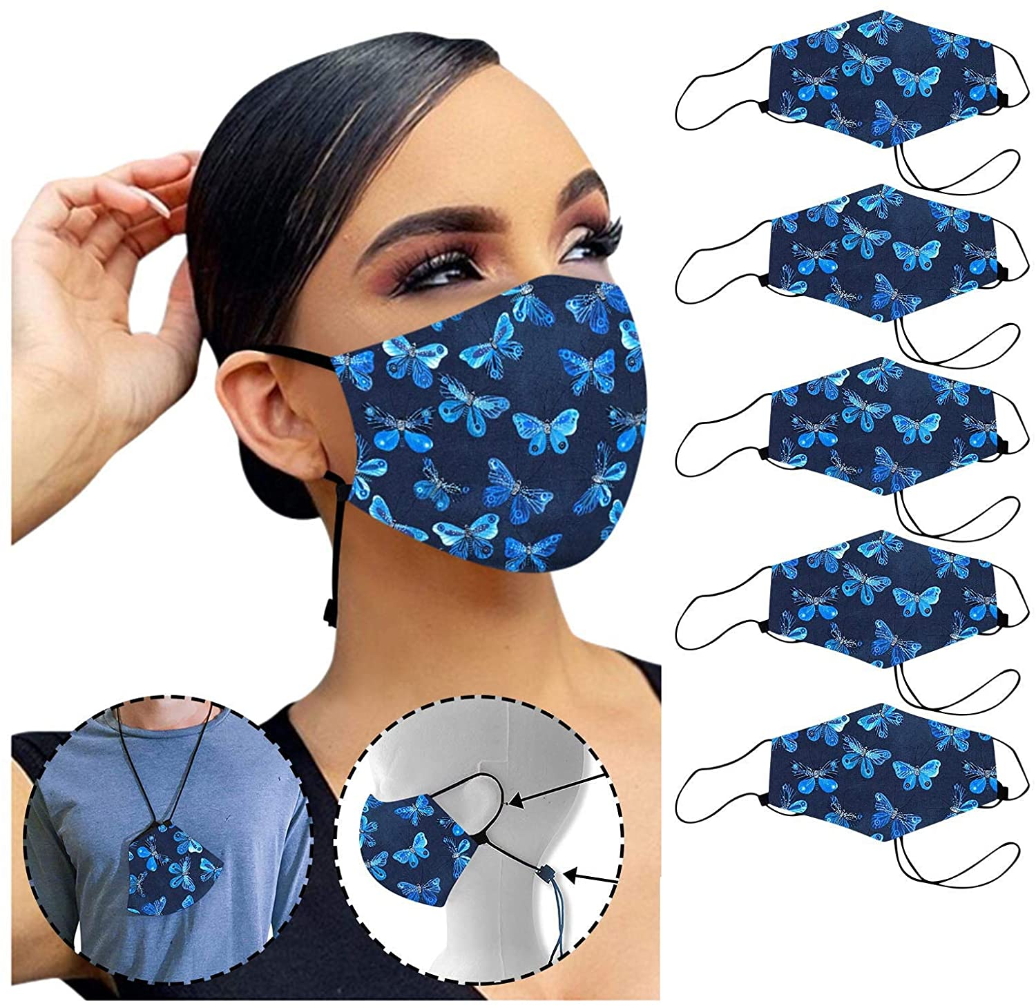 KASSD 5PC Adults Butterfly Print Face_Masks-Reusable Face Covering Washable Face Protection Anti-Dust&Splash Outdoor Facial Decorations for Women