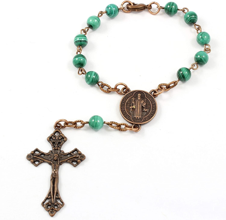 One Decade Catholic Rosary, Auto Rosary, Epoxy Coated Copper, Will Never Tarnish, Malachite Gemstones, with Lobster Clasp