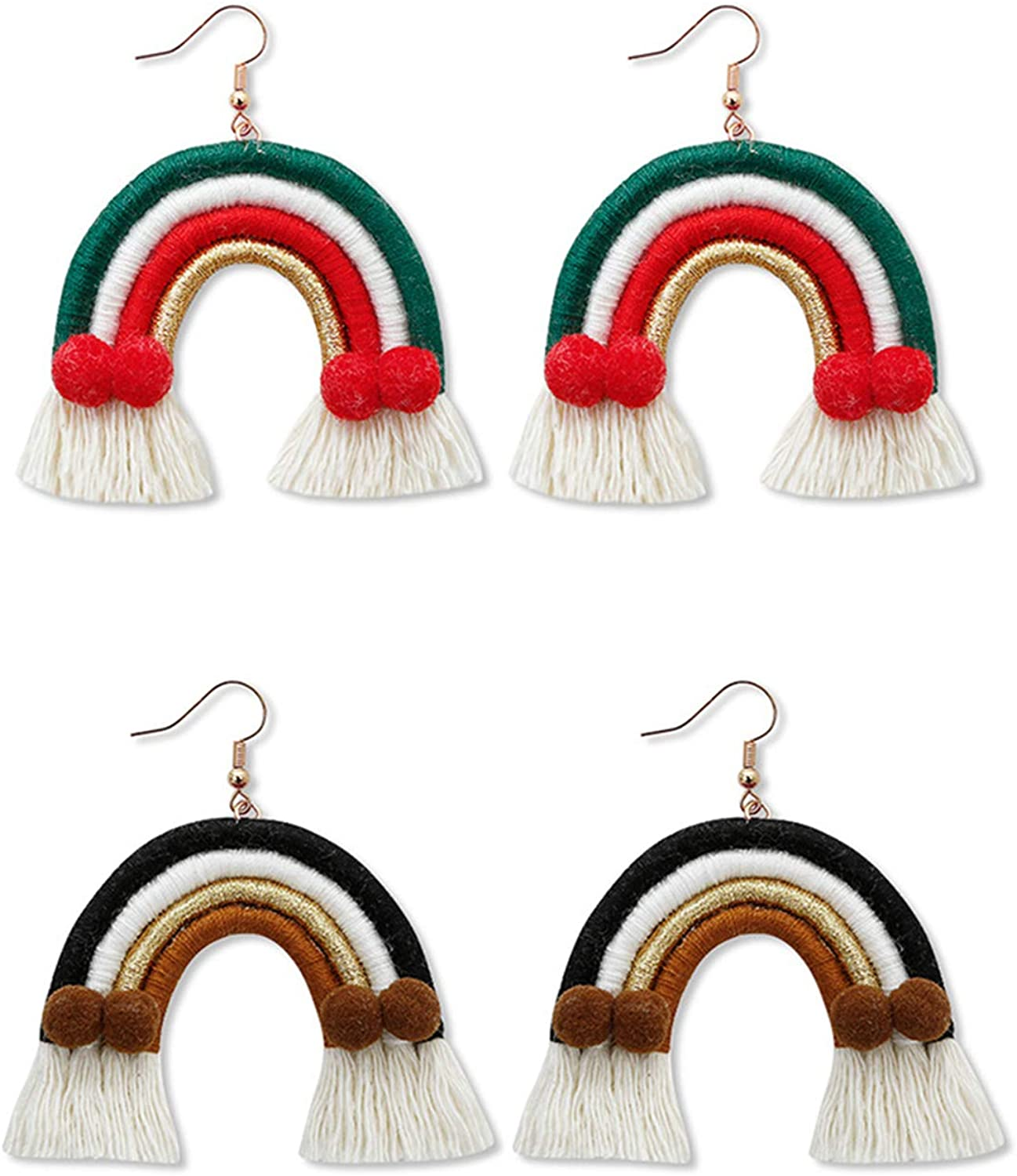 Colorful Rainbow Layered Tassel Earrings Bohemian 3 Tier Fringe Statement Dangle Drop Earrings for Women Girls Jewelry Fashion and Valentine Birthday Party Gift