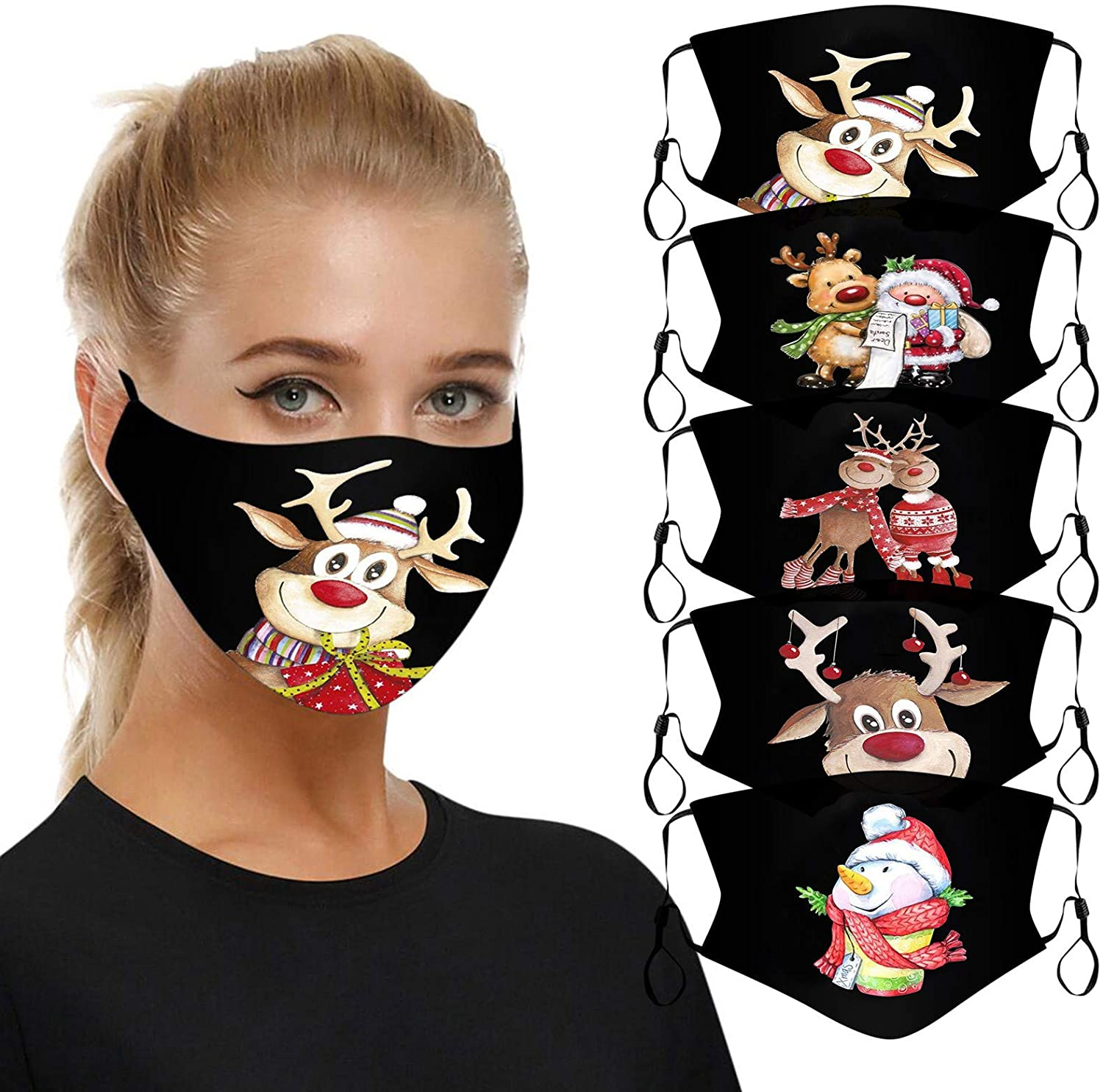 Unisex Christmas mask Face Mask Reusable Printing Mask Funny mask 1pc for Glowing Nightclub Party 5pc