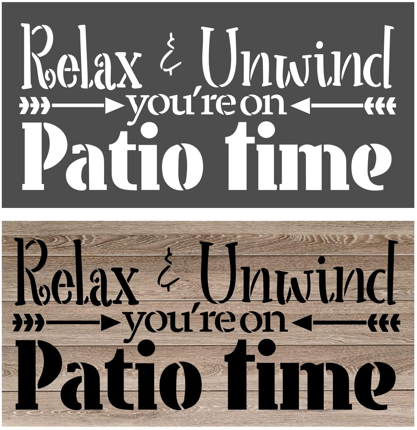 OCCdesign Relax Unwind You are on Patio Sign Stencils - Rustic Farmhouse Inspirational Template for Painting Spraying Crafts Décor