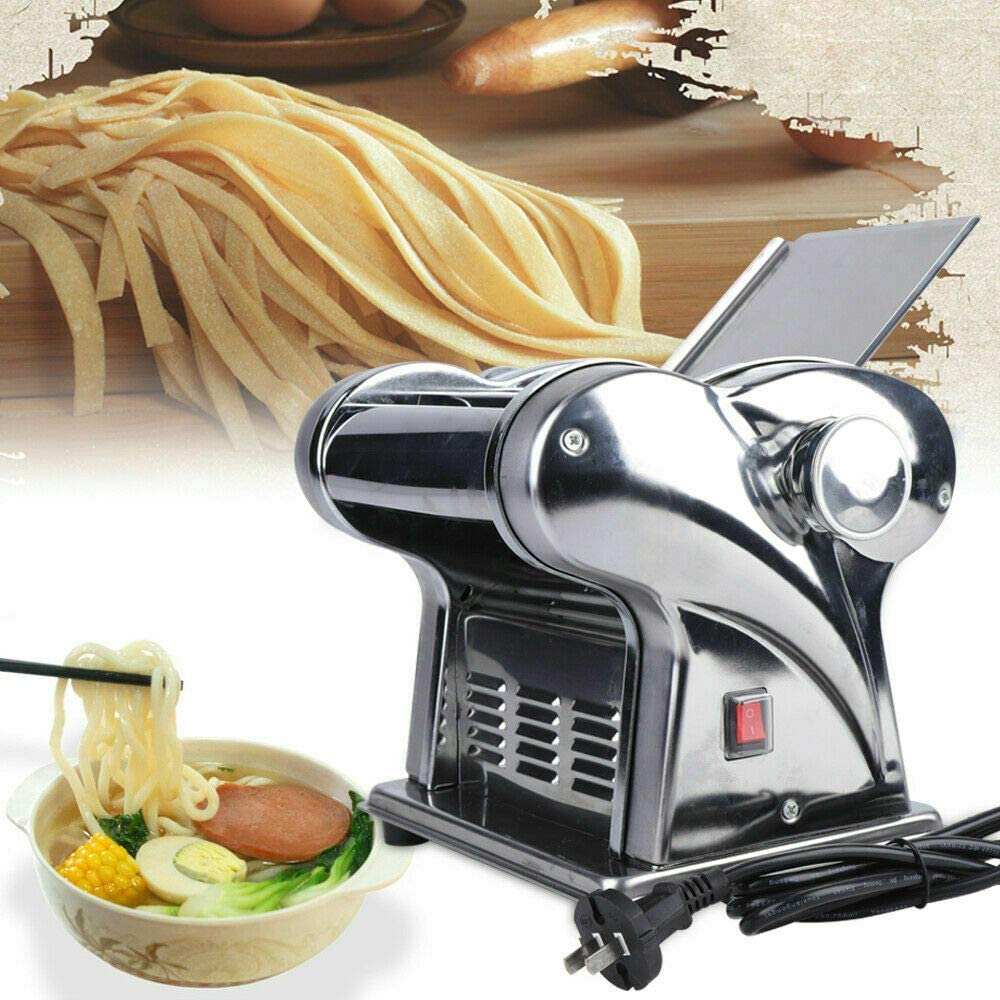 110V Electric Pasta Maker Noodle Press Machine Commercial Stainless Steel Dough Cutter Dumplings Roller Noodles Hanger 6 Speed and Thickness Adjustable