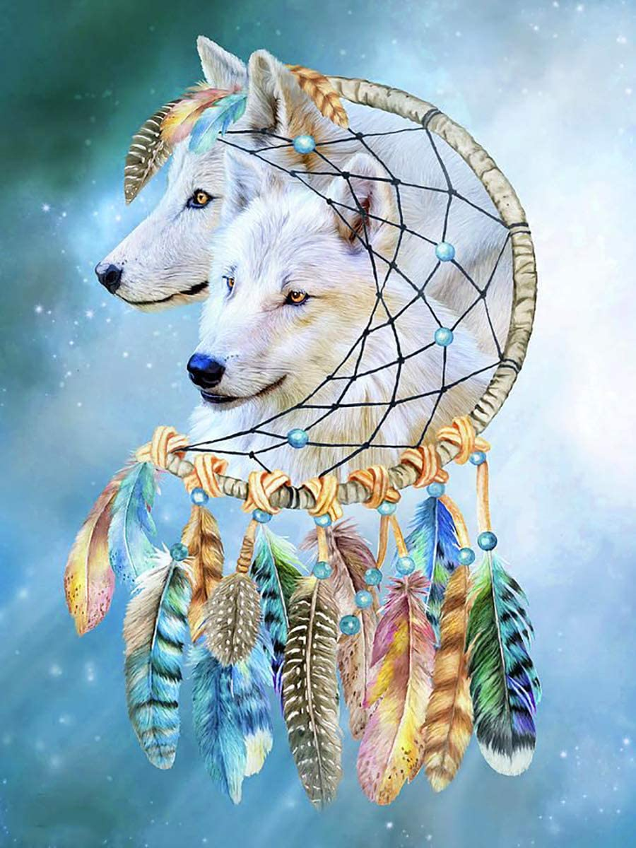 GIEAAO 5D Diamond Painting Kit White Wolf Dream Catcher, Paint with Diamonds Animal Feathers Full Drill Round Rhinestone Craft Canvas for Home Gift Wall Decor 12x16 inch