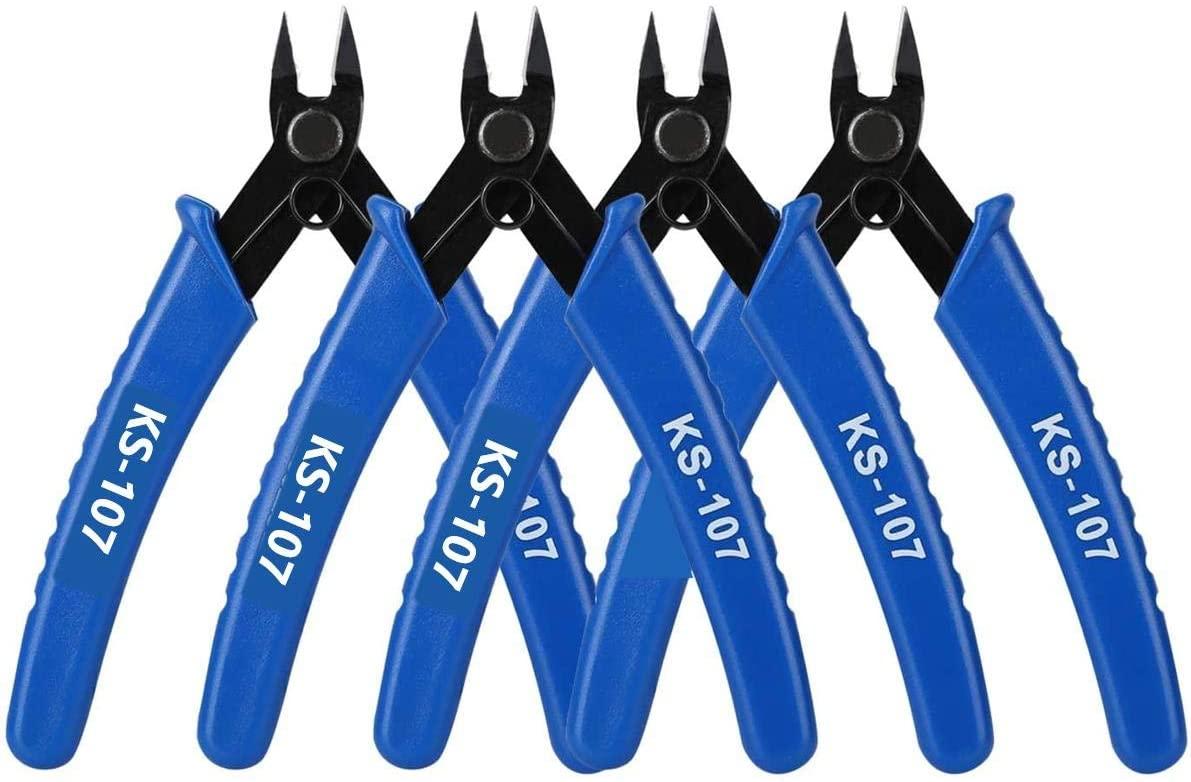 Wire Flush Cutters 5 Inch, Precision Cutting Pliers, Micro Wire Cutter, Blue - 4 Pack