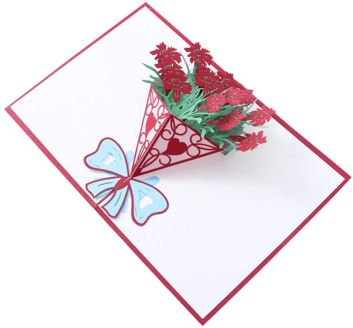 Amosfun 3D Christmas Greeting Cards with Flower Patterns Holiday Pop Up Cards with Envelope Christmas Cards for Xmas Holiday Thanksgiving Party Gifts (Red)