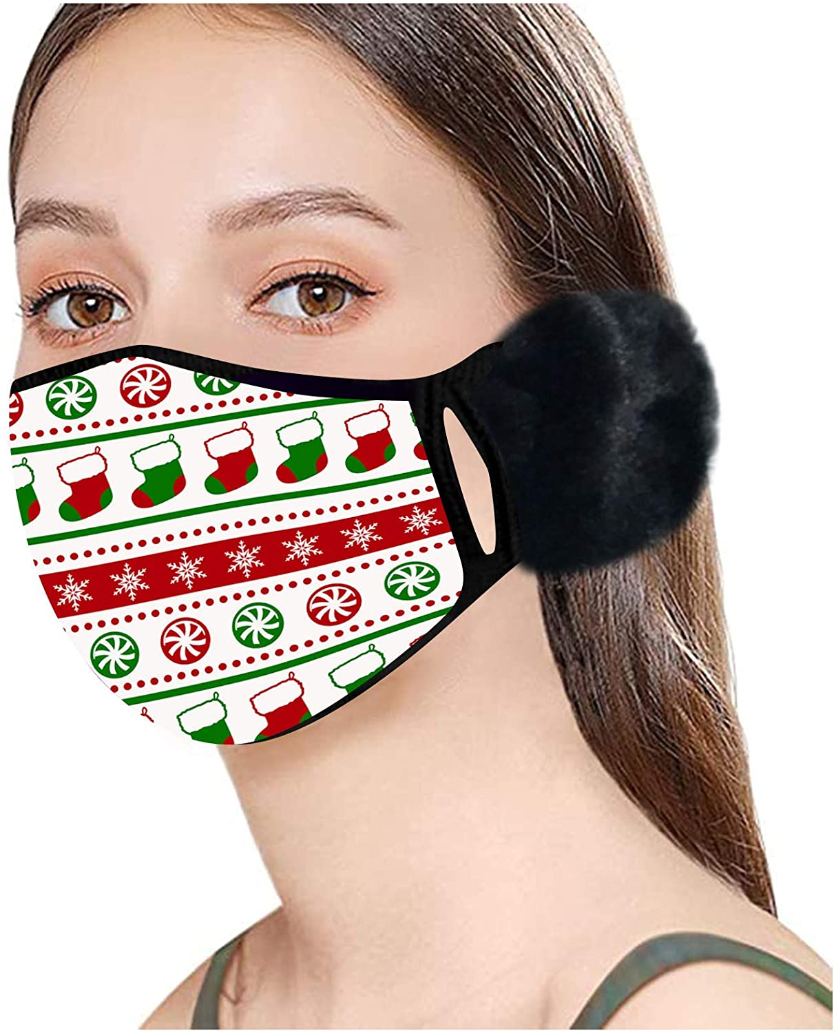 Unisex Christmas mask Face Mask Reusable Printing Mask Funny mask 1pc for Glowing Nightclub Party 1pc