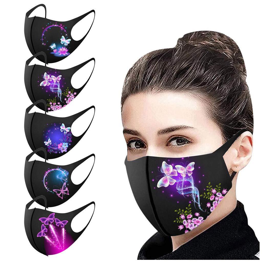 OMGYST 5Pcs Fashion Butterfly Face Mɑѕḱ Face Bandana_Covering_MASK Cottons for Women Printed Facial Decorative Cloth Face Bandana Reusable Washable Dustproof Anti-Haze
