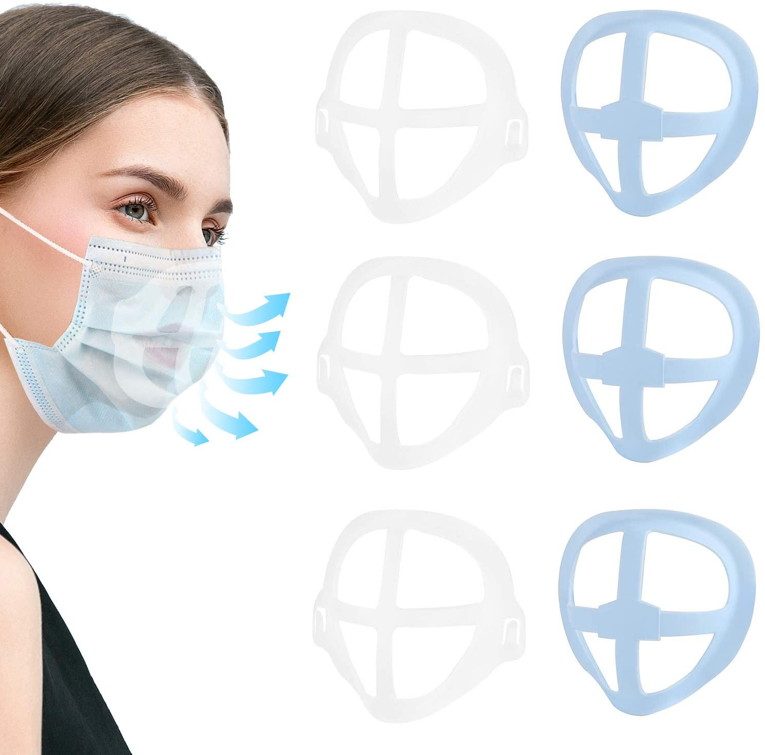 Face Mask Inner Support Frame Homemade Cloth Mask Cool Silicone Bracket More Space for Comfortable Breathing Washable Reusable, 3pcs Clear (6)
