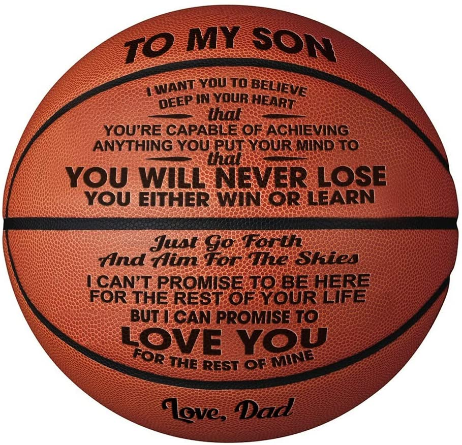 Doptika QZL Engraved Basketball from Mom/Dad to Son (Shopify)