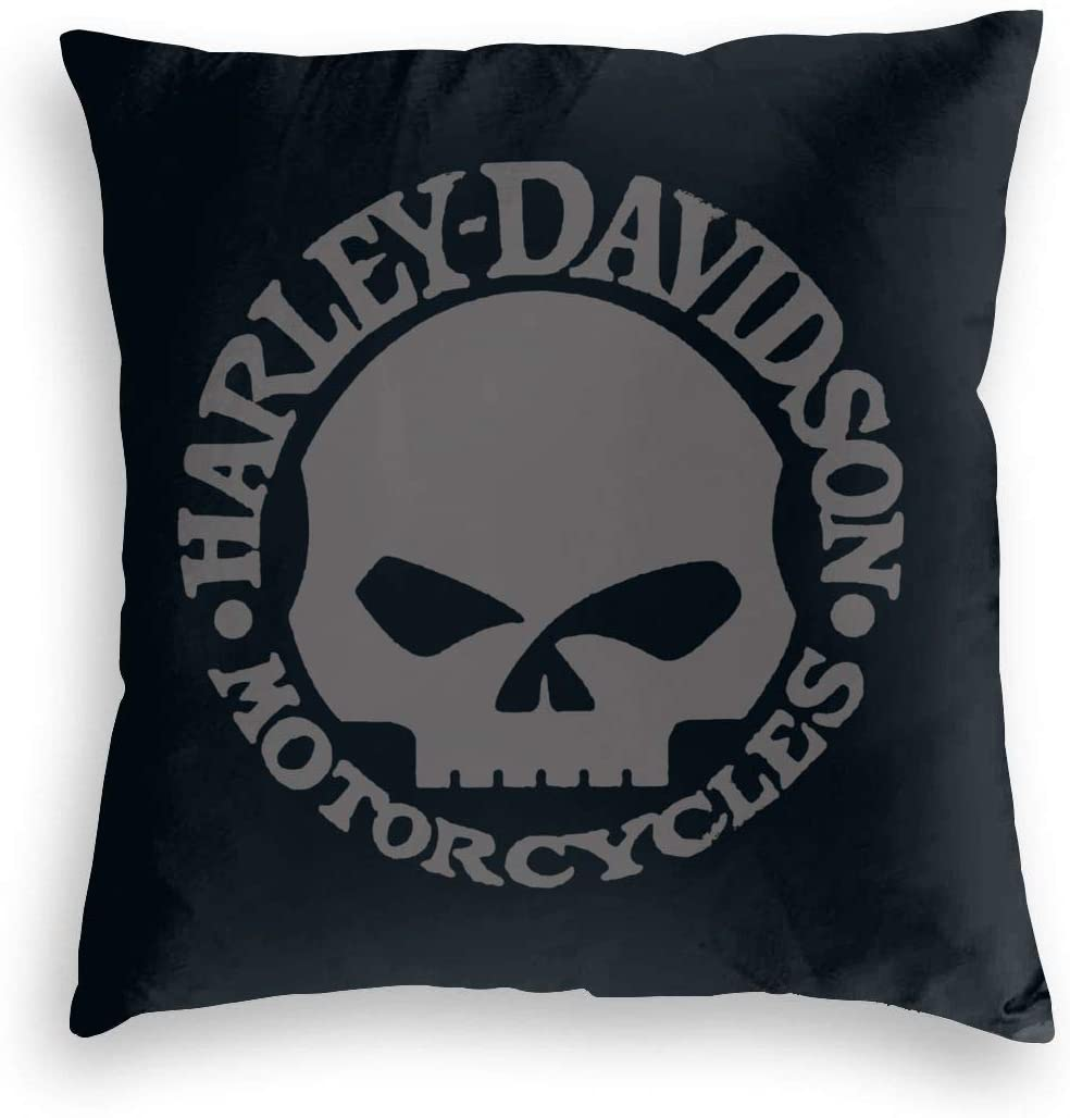 DGAGD Harley Davidson Skull Velvet Pillowcase Covers Texture is Very Soft and Warm Can Be Used in Any Room,18