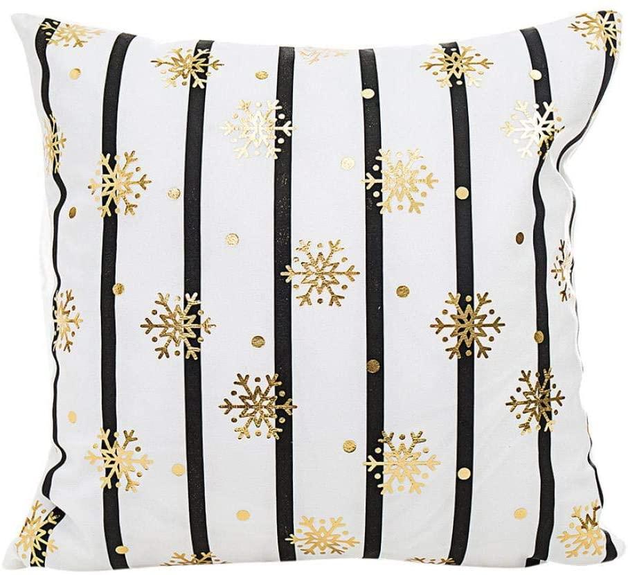 Merry Christmas Pillow Case Gold Foil Patry Home Decoration Festival Waist Throw Cushion Cover Zulmaliu (B)