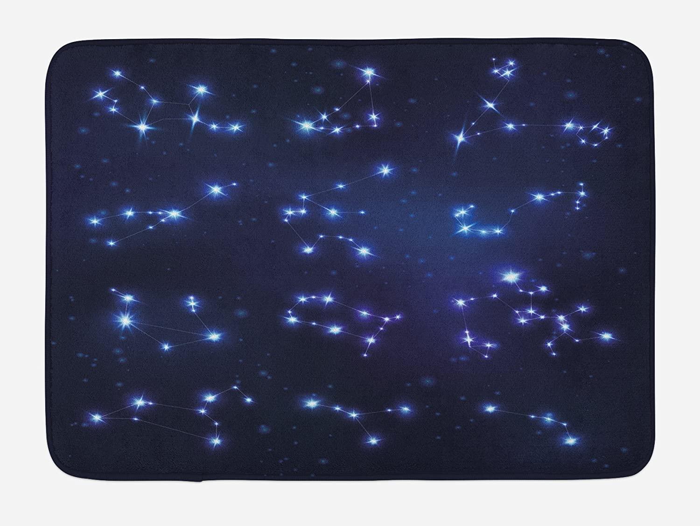 Ambesonne Constellation Bath Mat, Realistic Celestial Gemini Leo Pisces Sagittarius Galactic, Plush Bathroom Decor Mat with Non Slip Backing, 29.5