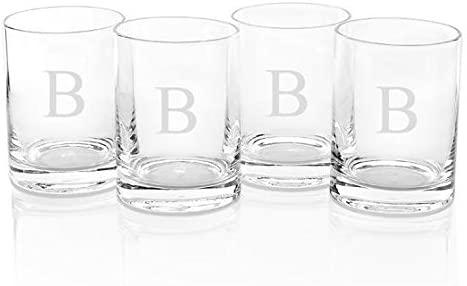 Monogram Double Old Fashioned Glasses Set Of 4, 14OZ, B