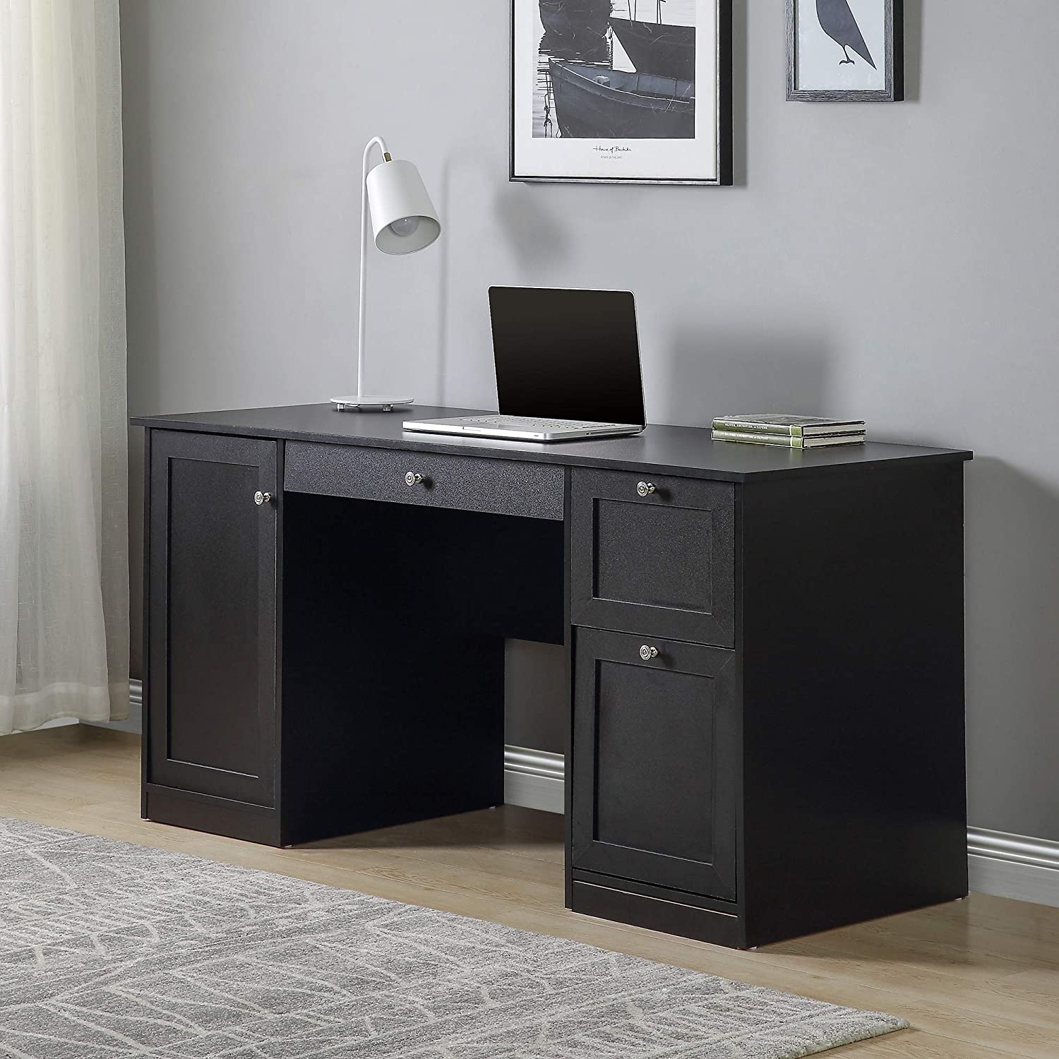 Home Office Computer Desk Sturdy Black Writing Desk Modern Simple Study Table with 2 Drawers, Pullout Keyboard, Storage Cabinet for Home, Office, Study Room, Bedroom