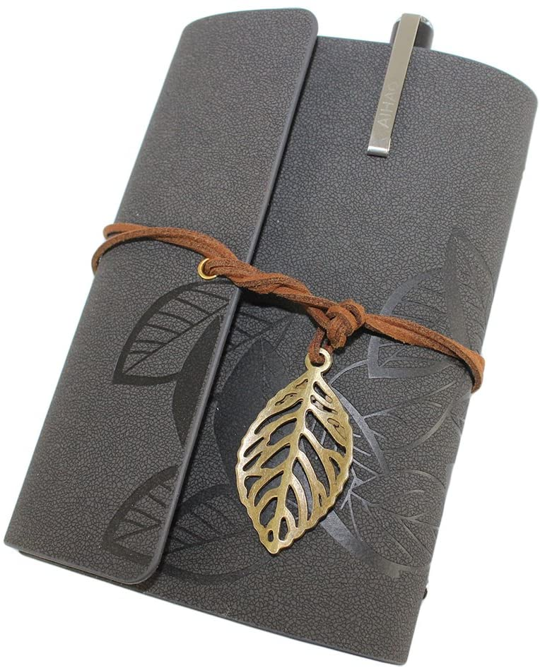 Retro Vintage Leaves Bound Journal Notebook Loose-leaf Blank Diary Notebook with a gel pen -Gray