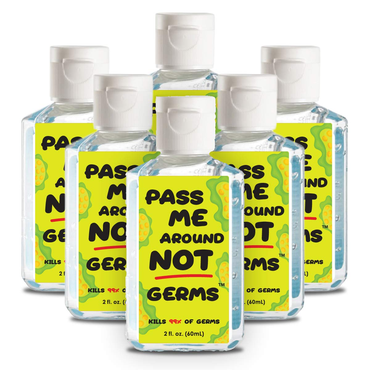 Essentially Yours Hand Sanitizers for Daily Use 70% Alcohol, Pass Me Around Not Germs, 2 Fl Oz, 6 Pack