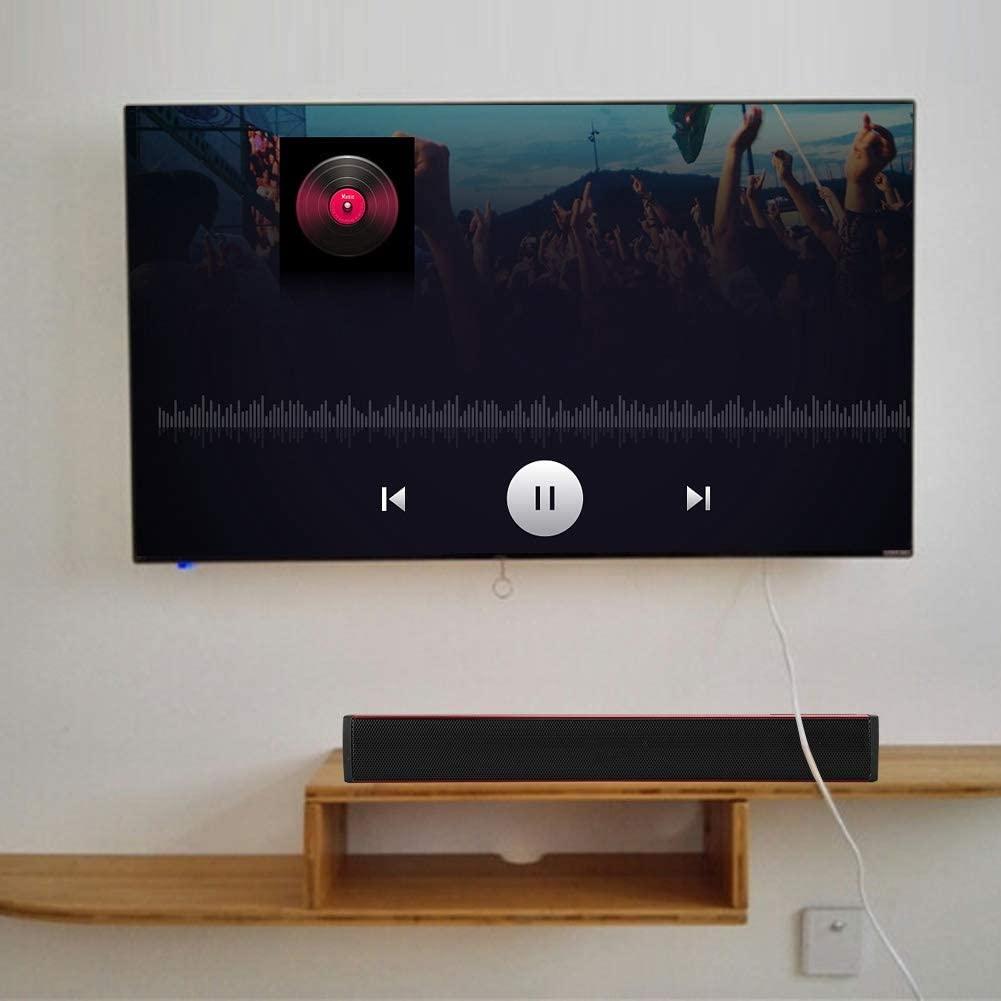 3.5mm Headphone Jack Soundbar, Volume Adjustable Subwoofer, Living Room for PC Notebook for Bedroom(red)