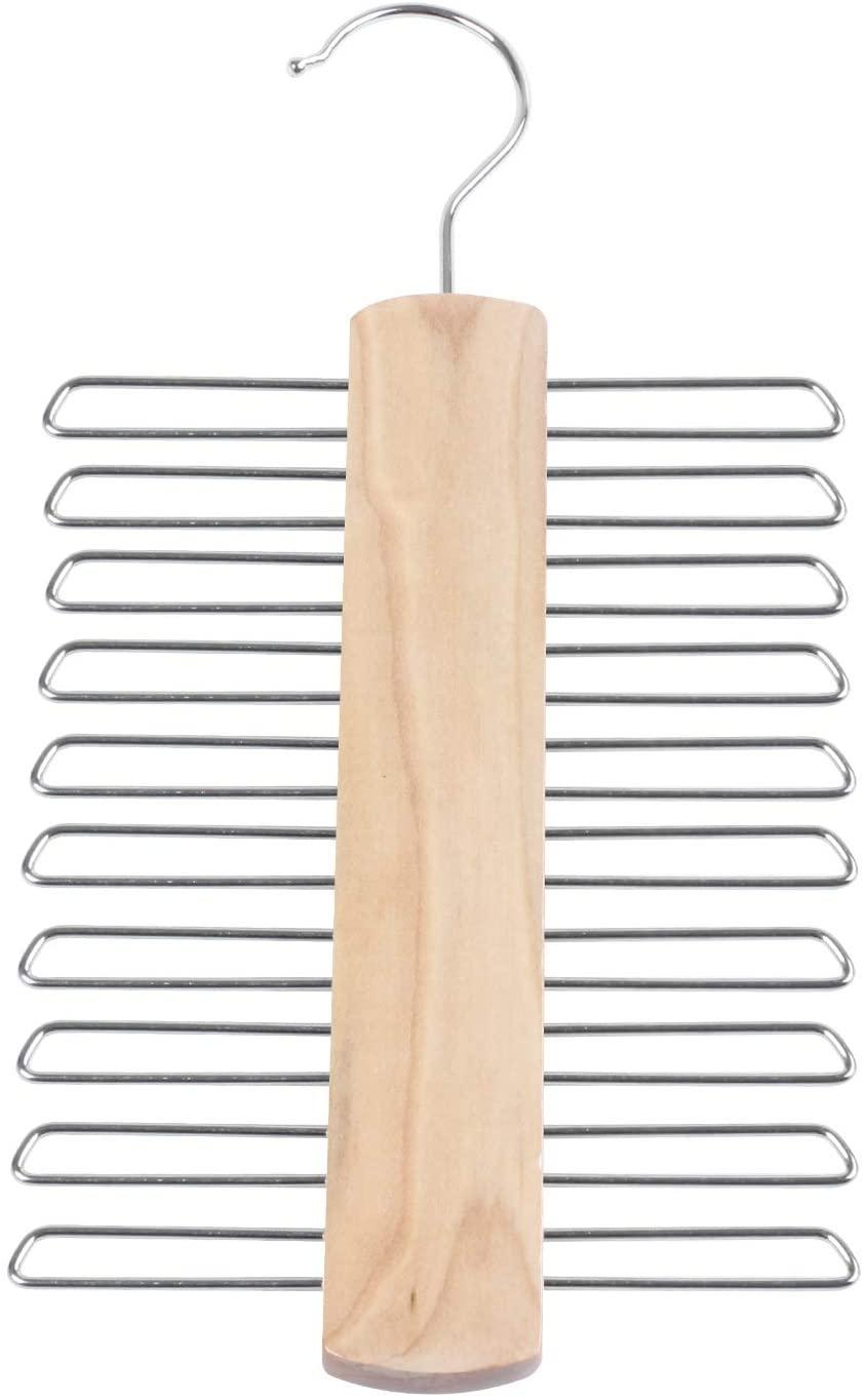 SONPP Store 20 Bar Wooden Tie Hanger - Scarfs & Belt Rack Organiser