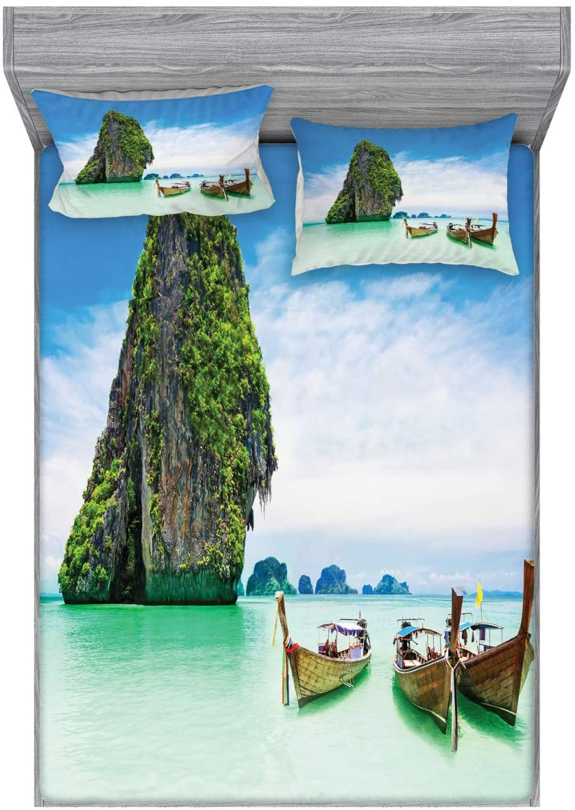 Ambesonne Island Fitted Sheet & Pillow Sham Set, Limestone Rock in The Sea Boats Tranquil Heaven Coast Horizon Off Nature Photo, Decorative Printed 3 Piece Bedding Decor Set, Full, Multicolor