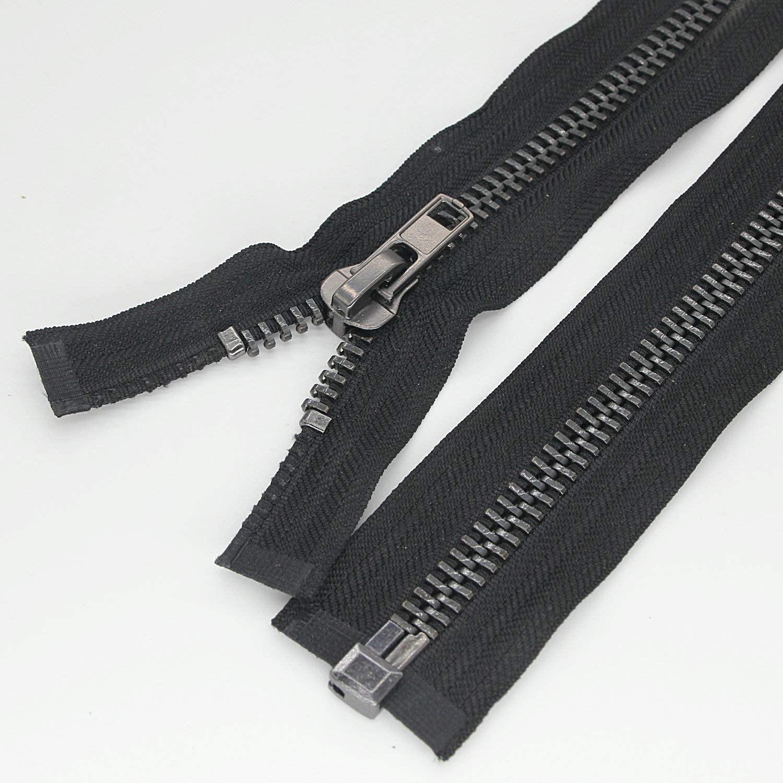 #10 24 Inch Separating Jacket Zipper Black Nickel Metal Zipper Heavy Duty Metal Zippers for Jackets Sewing Coats Crafts (24