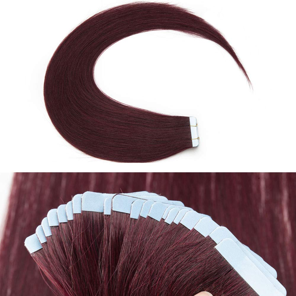 40 Pcs 100g Rooted Tape In Hair Extensions Human Hair Invisible Seamless Skin Weft Highlight Double Side Tape Remy Human Hair Extensions Balayage Natural Straight For Women (18,#99J Wine red)