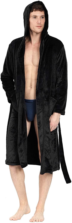 YIMANIE Mens Flannel Robe Long Hooded Plush Shawl Kimono Bathrobe Sleepwear