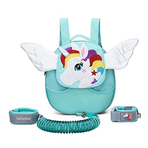 Nonika Toddler Kid Lunch Diaper Weather Resistant Backpack with Safety Walking Leash - Super Cute Must Have Item (UnicornGreen)