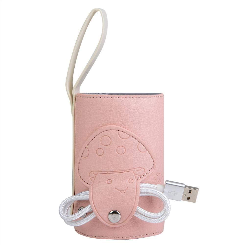 Zerodis Bottle Warmer Bag, USB Baby Bottle Warmer Portable Travel Mug Milk Heater Milk Warmer Bag Insulated Baby Bottle Tote Bag Ideal for Car Travel Shopping(Pink)