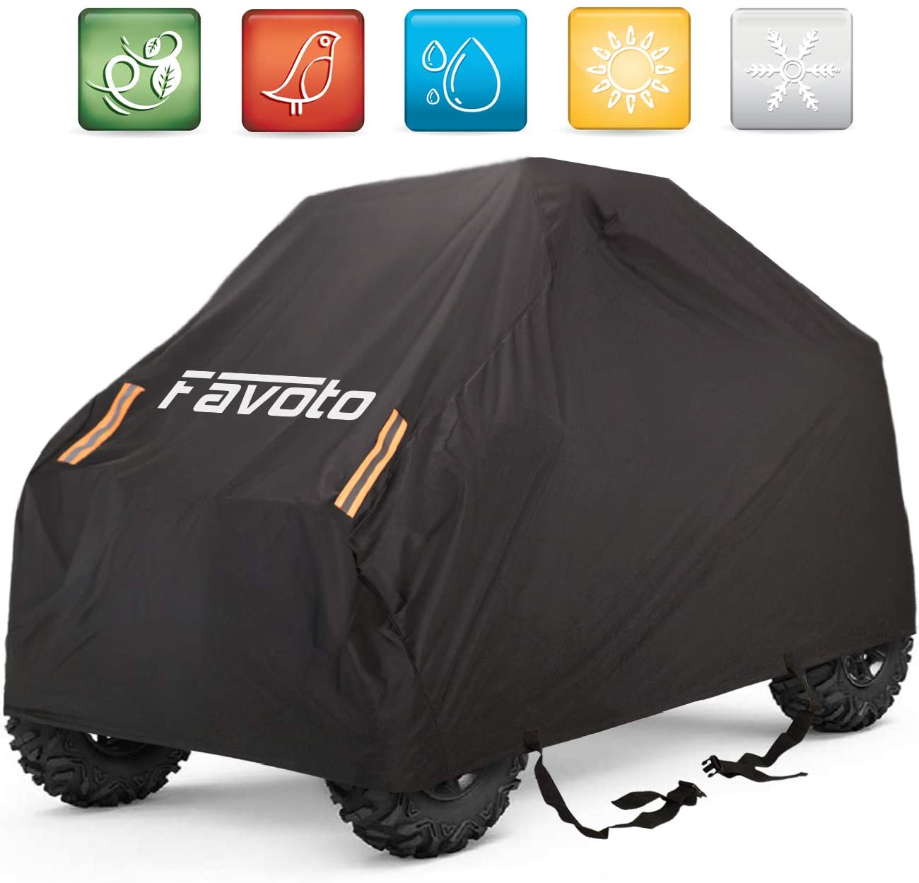 Favoto UTV Cover, Waterproof Oxford, 114 x 59 x 74.8 inches, with 4 Night Reflective Stripes and Carrying Bag, Dust Sun Wind Rain Leaves Outdoor Protection, Universal Fit 4 Wheeler Vehicle Cover