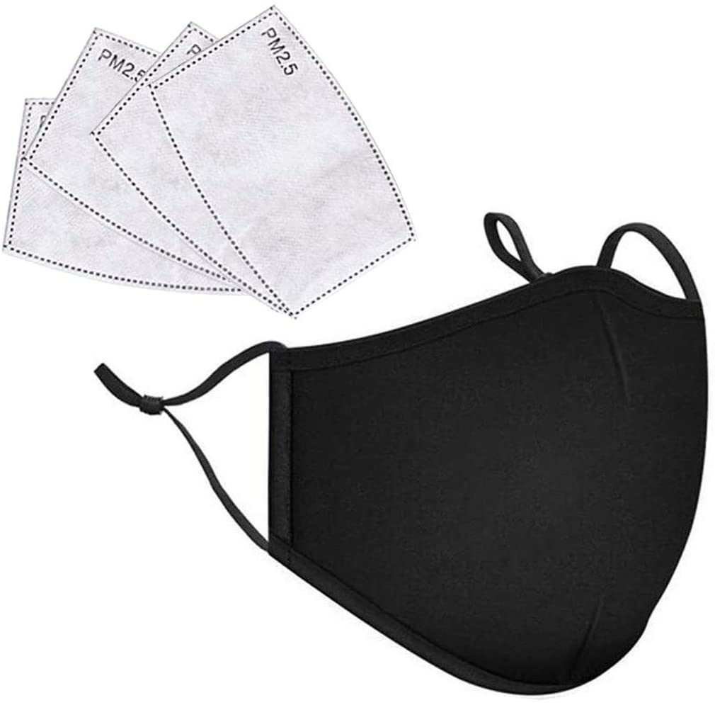 Adults Dust-Proof Cloth Face_Mask Reusable with 4 Pcs Filters, Washable Fashion Fabric Mouth Protection Bandanas
