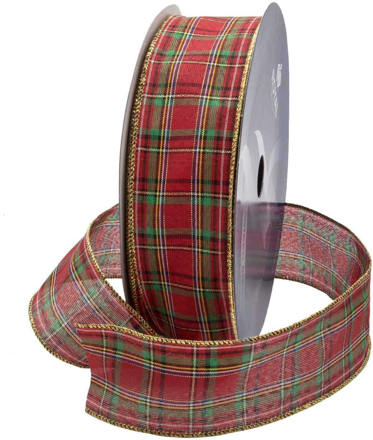 Wired Traditional Red Clarkston Tartan Plaid Christmas Ribbon Waterproof with Gold Edge 2 1/2