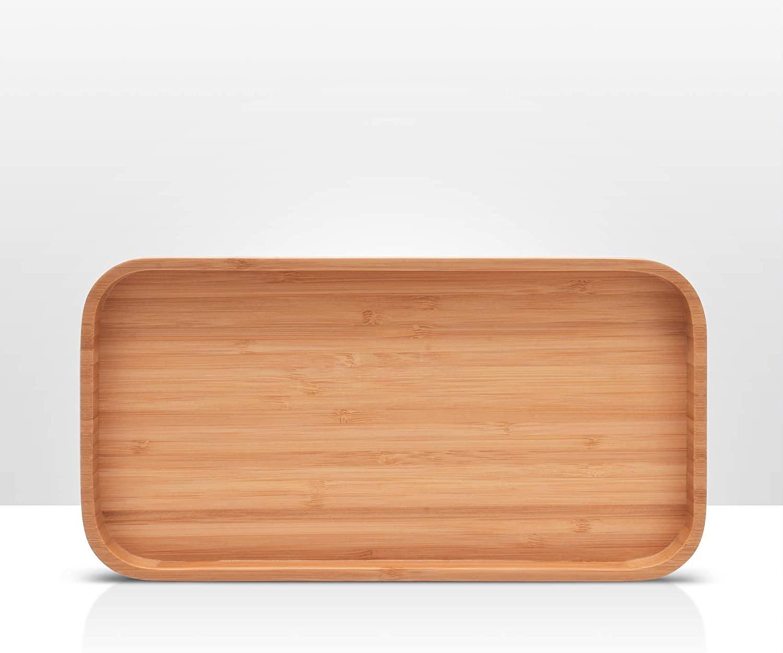 Bamboo Wood Serving Tray, Decorative Coffee Table Tray, Bathroom Vanity Tray
