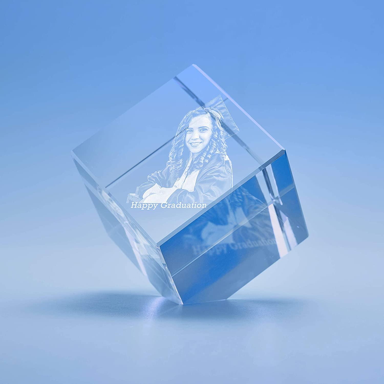 Graduation Cube Crystal, 3D Engraved - Medium