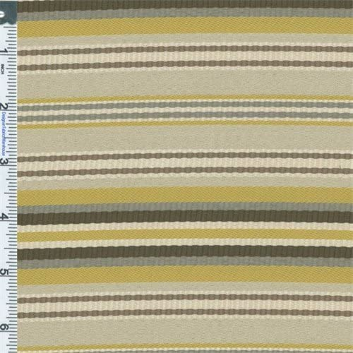 Yellow/Beige Designer Citron Stripe Home Decorating Fabric, Fabric by The Yard