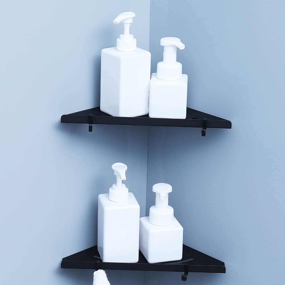 RANK Floating Corner Shelf 2-Pack Corner Shower Caddy for Bathroom Kitchen Storage Organize, No Drilling (Black)