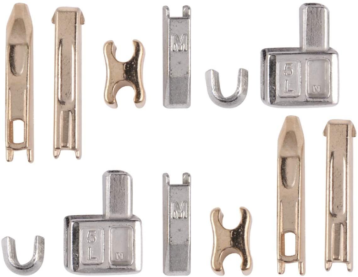 Exceart 190Pcs Metal Zipper Head Sliders Retainer Insertion Pin Zipper Repair Down Zipper Stopper Zipper Repair Kit for DIY Coat Jacket Home (Silver Golden)