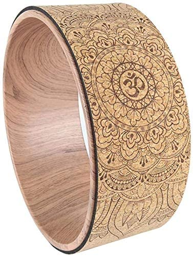 wi8 Yoga Wheel,Cork Yoga,Pilate Wheel Training Aid for Stretching, Natural Cork Fitness Wheel Improving Back Bends Stretch Pilates Circle,Designed for Dharma Yoga Prop Wheel Pose