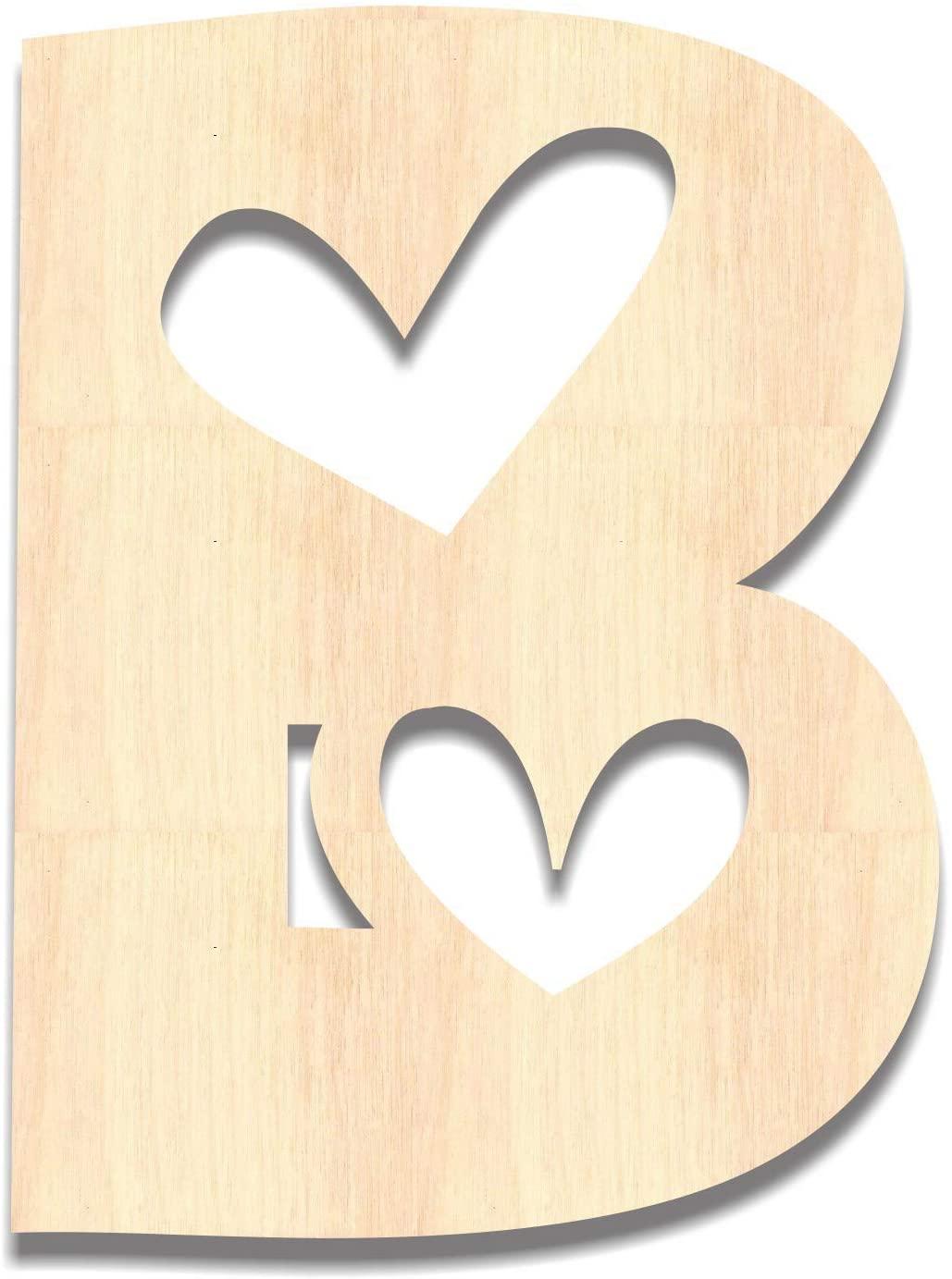 Back40Life - Precision Cut Wood Heart Monogram Letter - B Small
